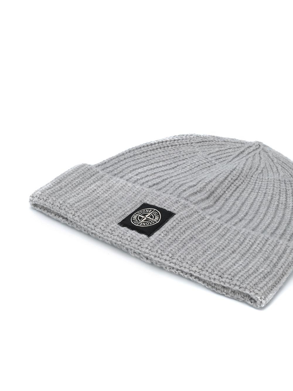 100% wool grey wool beanie hat featuring ribbed knit STONE ISLAND |  | 7315N10B5V0061
