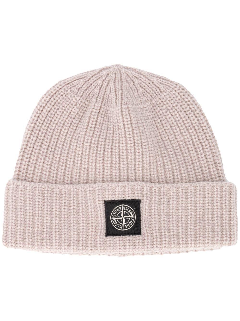 Cappello in lana beige con lavorazione a coste STONE ISLAND   Cappelli   7315N10B5V0092