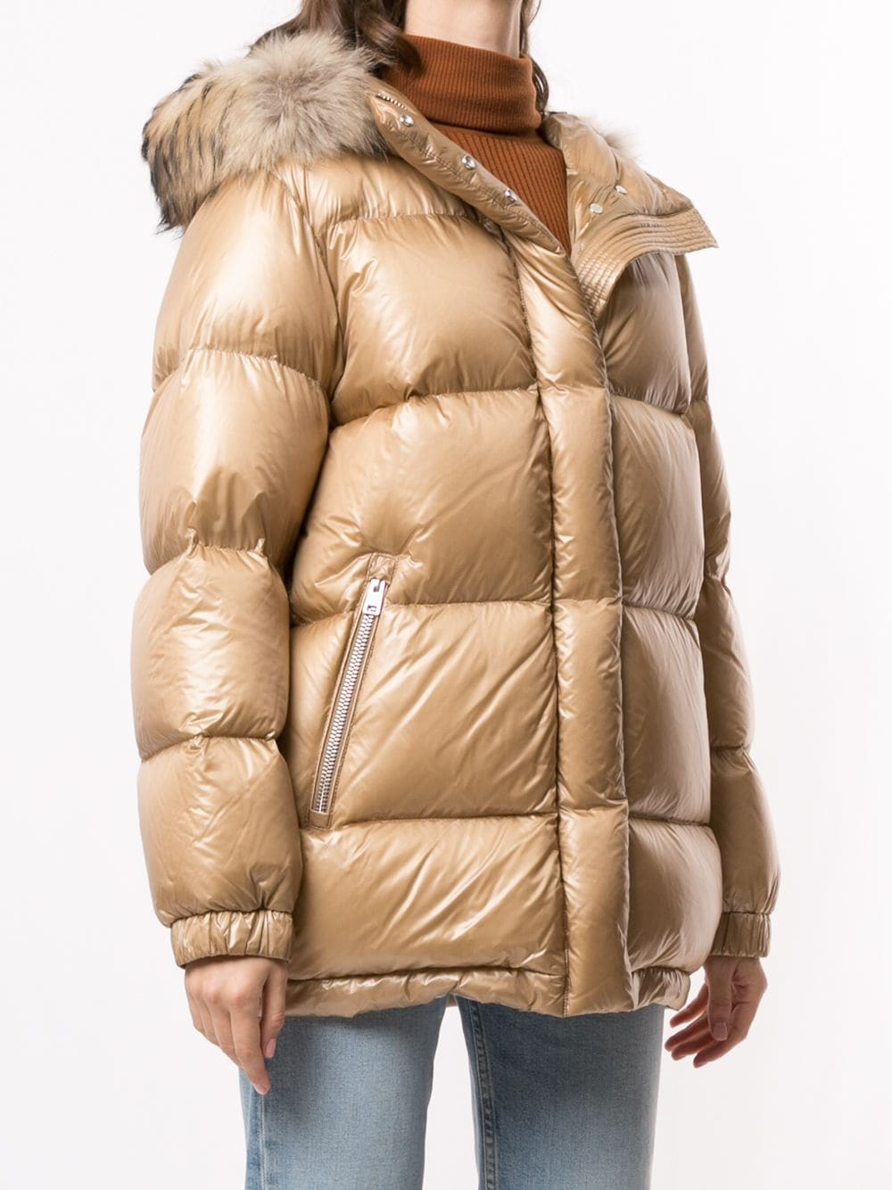 Gold padded puffer coat featuring faux fur-trimmed hood Woolrich |  | WWOU0285FRUT17028926