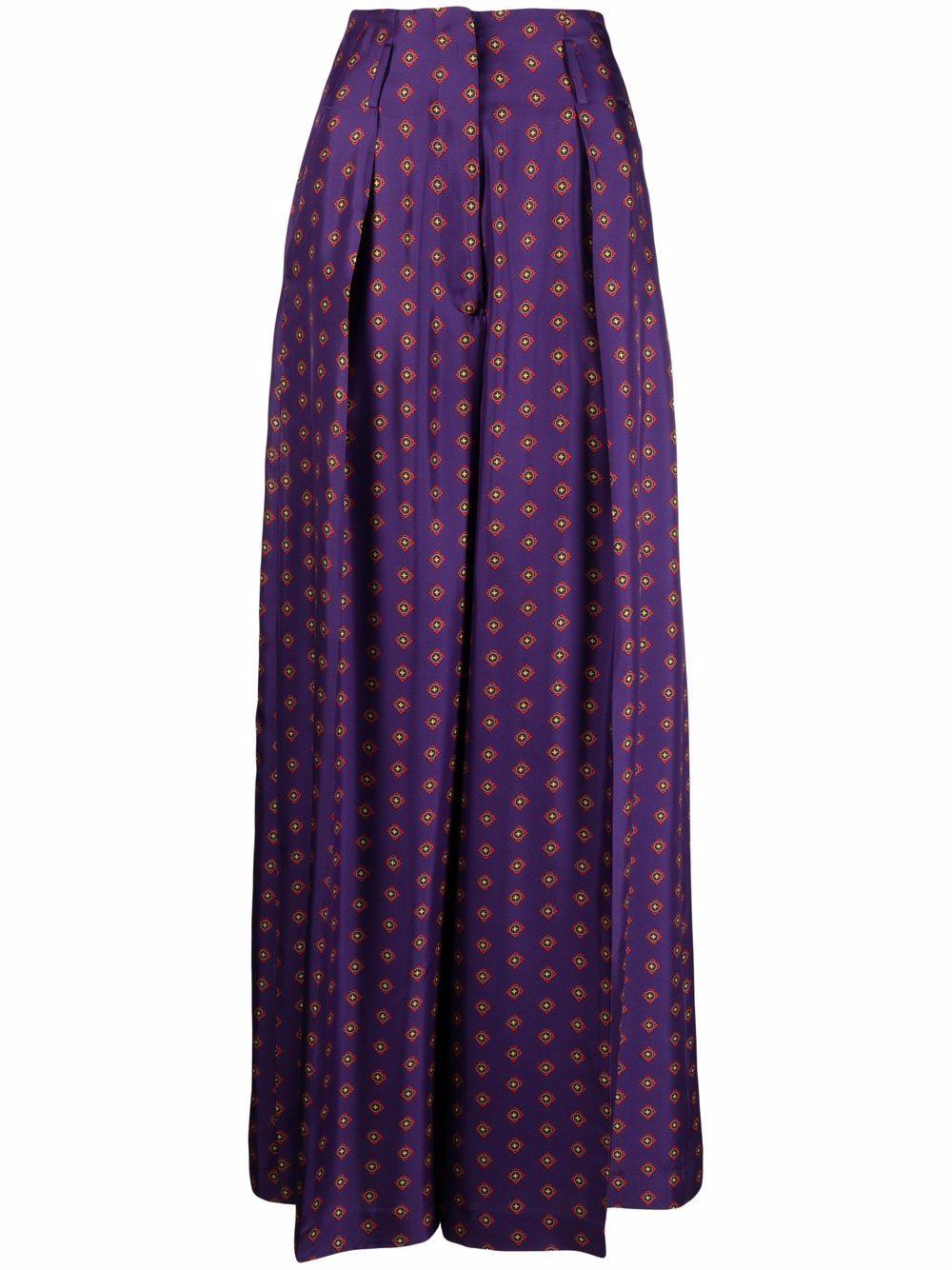 Pantaloni in seta in stampa geometrica viola ALBERTO BIANI |  | CC809-SE313954