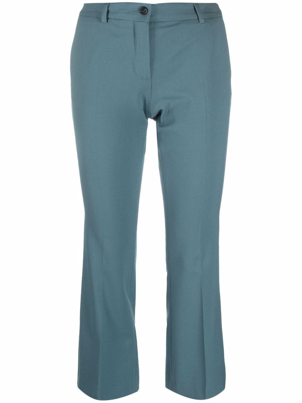 Teal-blue wool cropped tailored trousers ALBERTO BIANI      CC815-WO024182