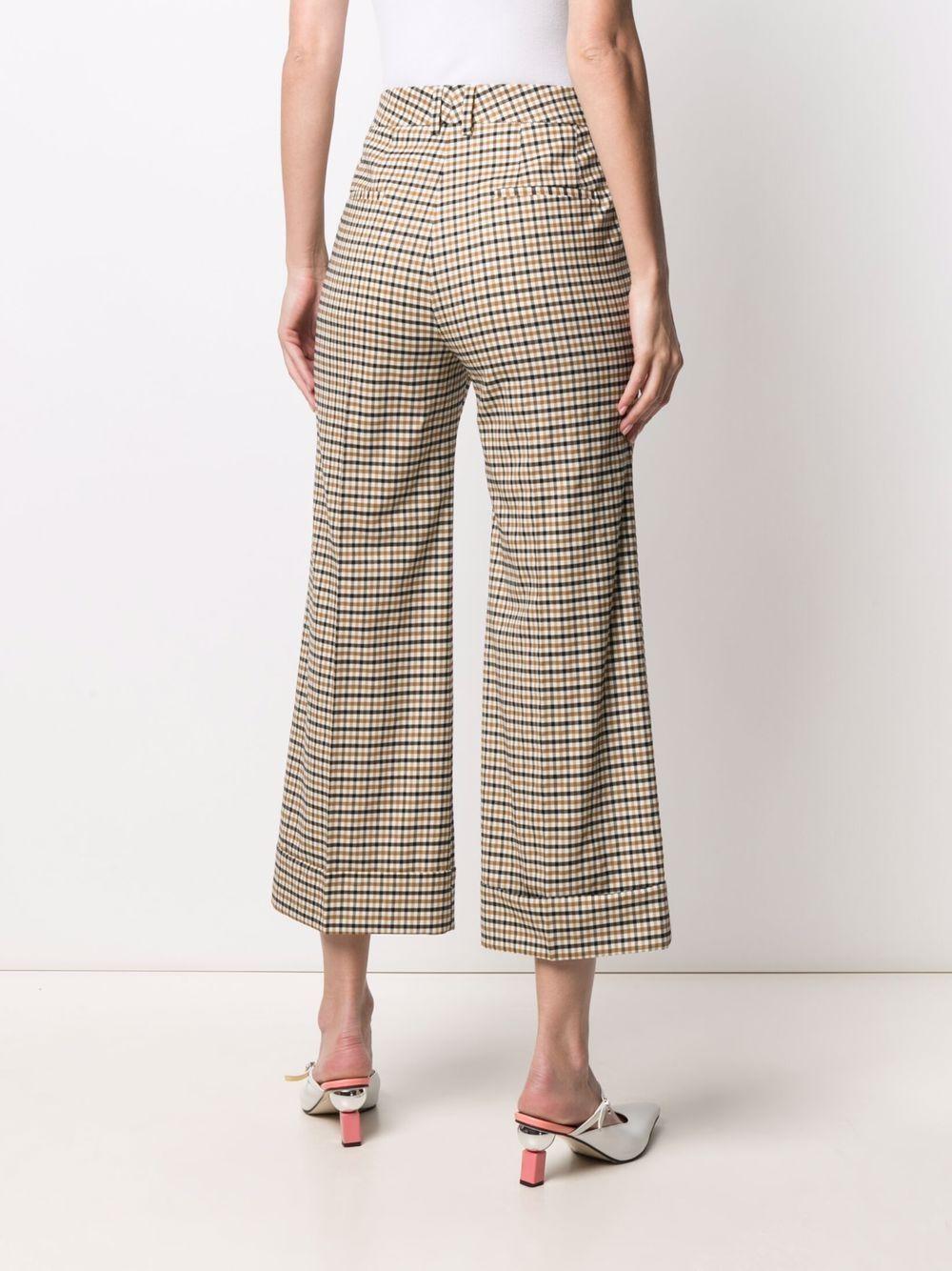 Pantaloni cropped beige e neri in lana vergine con motivo check ALBERTO BIANI   Pantaloni   CC842-WO215364