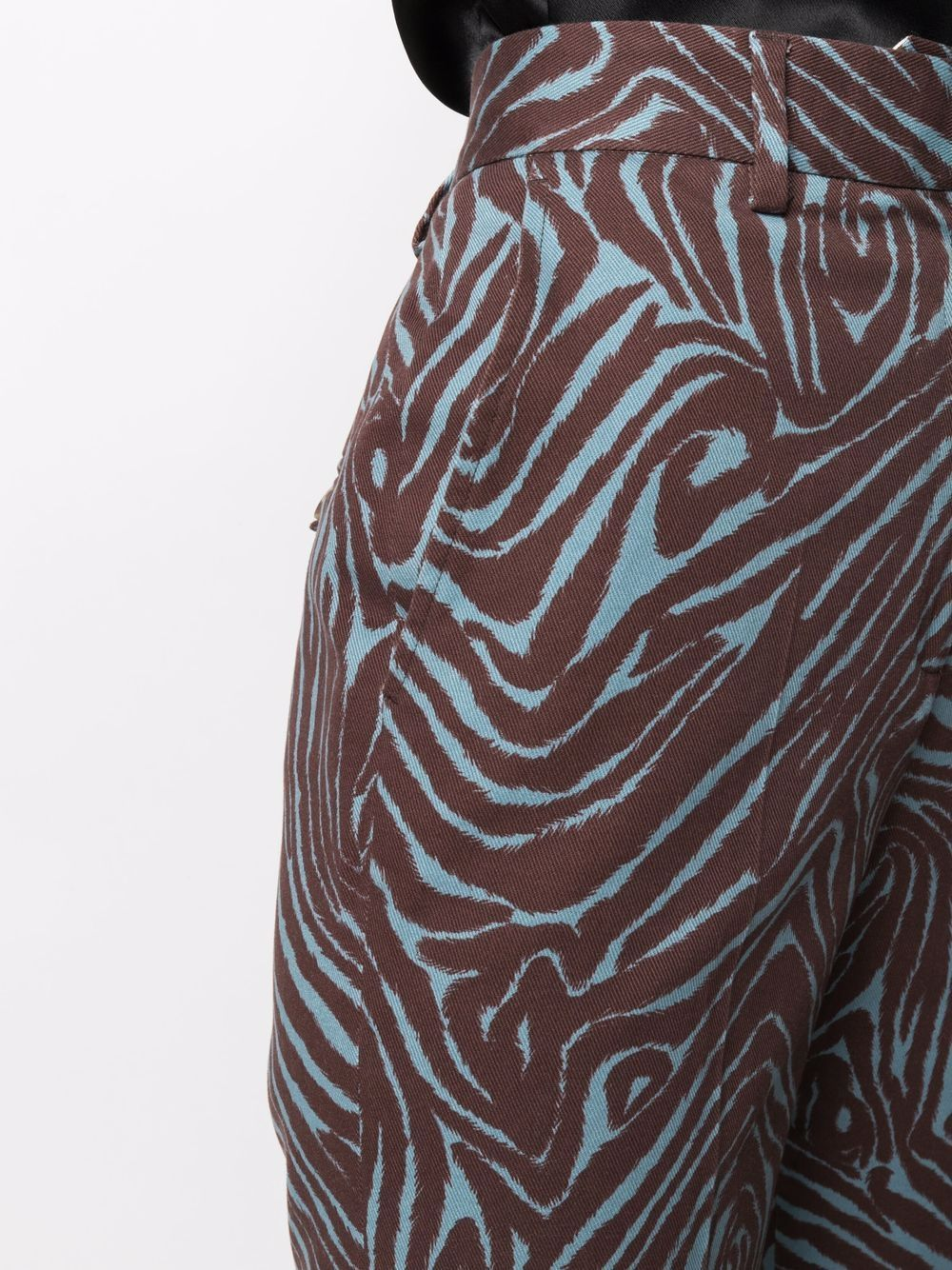 Pantaloni blu e marrone a vita alta in cotone in stampa zebrata ALBERTO BIANI   Pantaloni   CC877-CO306982