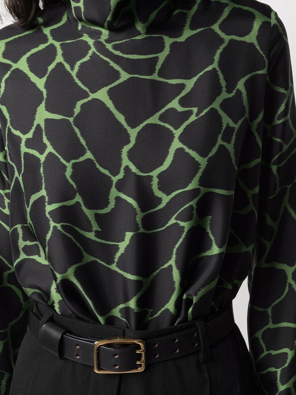 camicia nera e verde in seta con stampa animalier ALBERTO BIANI | Camicie | MM820-SE313876