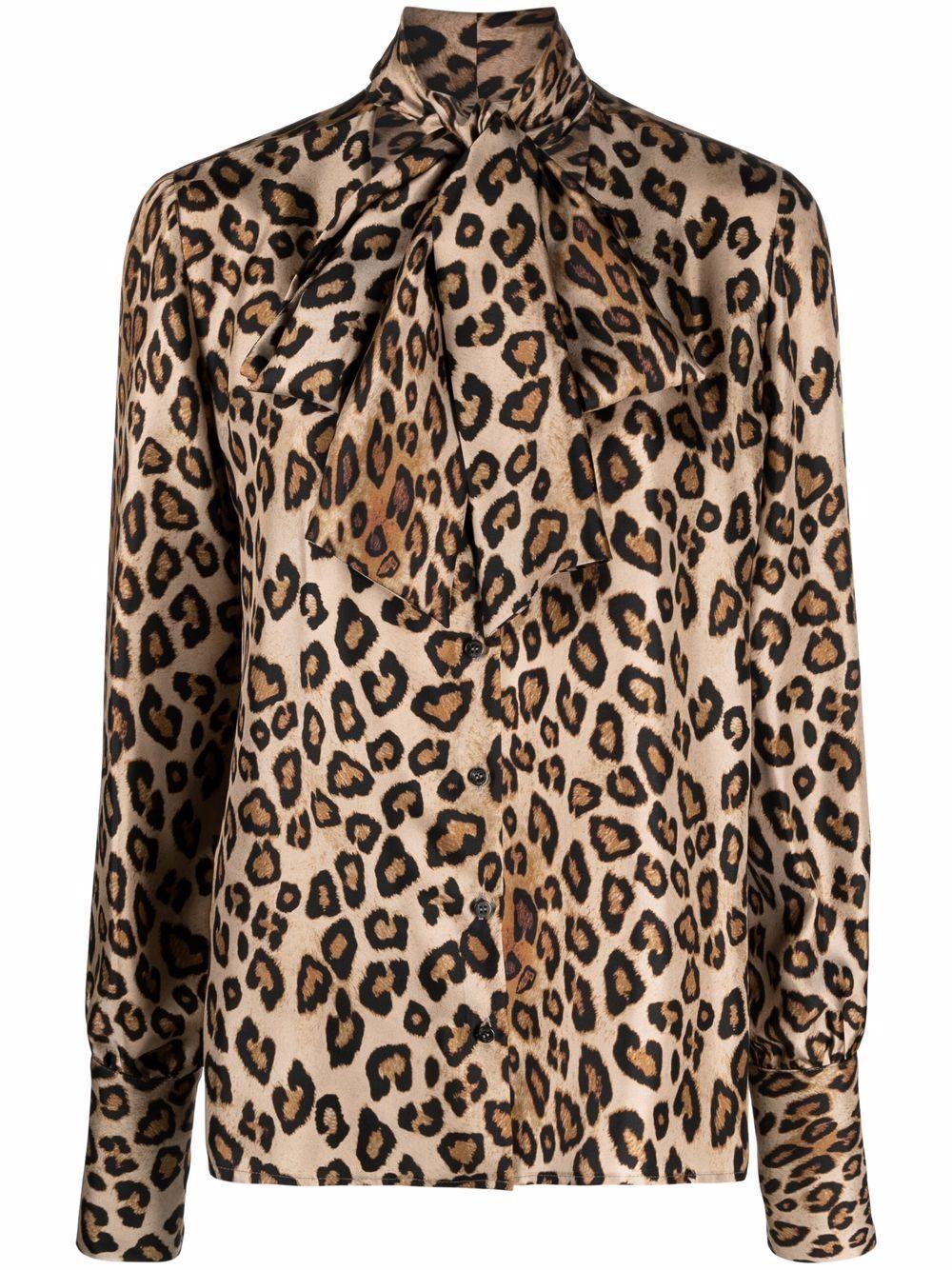 blusa leopardata allacciata al collo con scollo tondo ALBERTO BIANI | Camicie | MM896-SE3106660