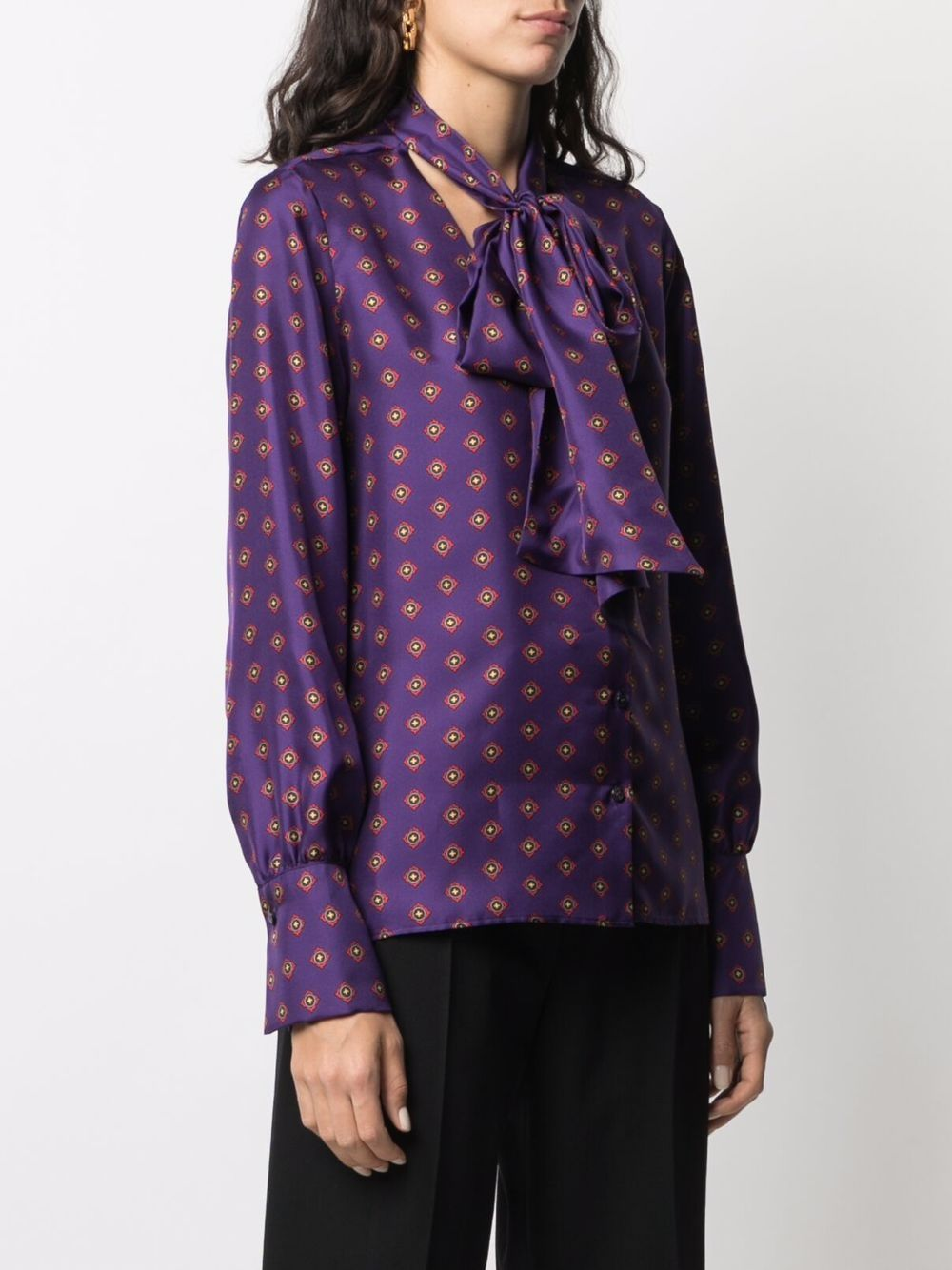 Purple silk geometric pattern tie-neck blouse  ALBERTO BIANI |  | MM896-SE313954