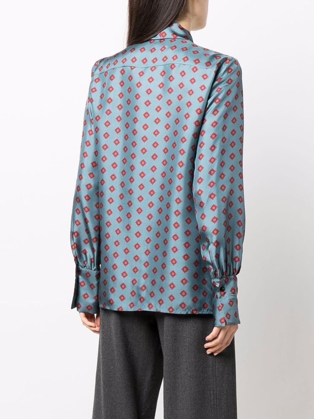 Blusa in seta blu in stampa geometrica con fiocco ALBERTO BIANI | Camicie | MM896-SE313982