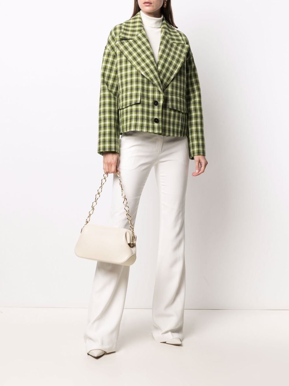 Green and black wool single-breasted check blazer  ALBERTO BIANI |  | PP863-WO215976