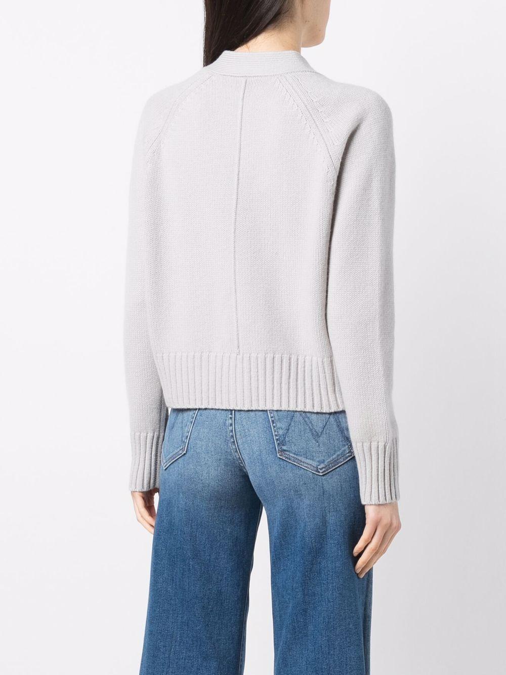 Grey cashmere pouch-pocket v-neck cardigan  ALLUDE |  | 215/1125082