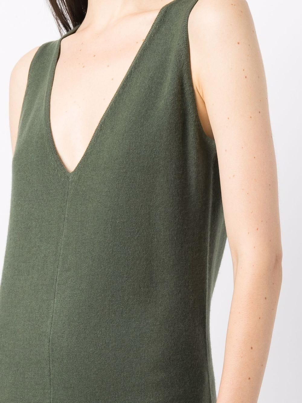Military green virgin wool and cashmere v-neck knitted jumpsuit ALLUDE |  | 215/1700736