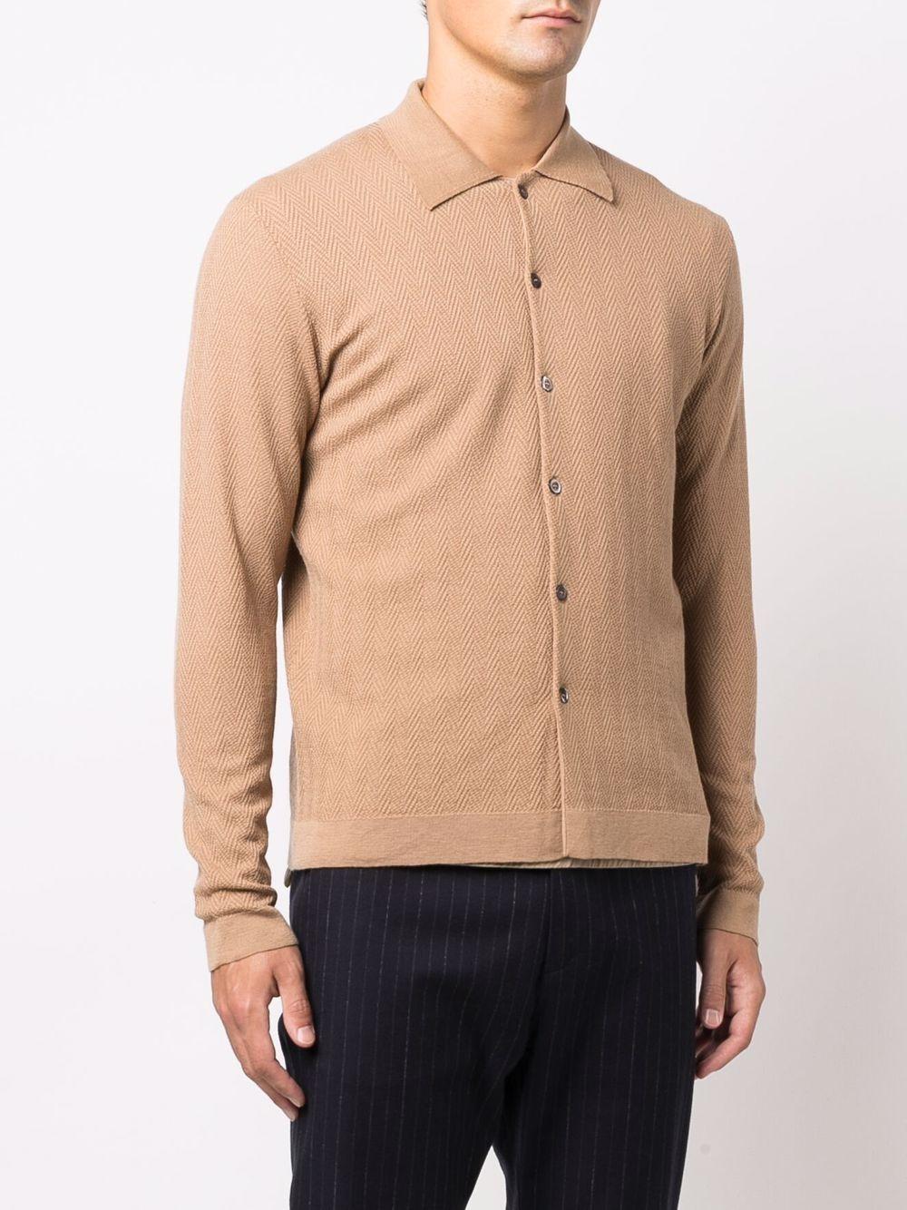 Cardigan beige in lana vergine con lavorazione a spina di pesce ALTEA | Cardigan | 216111734
