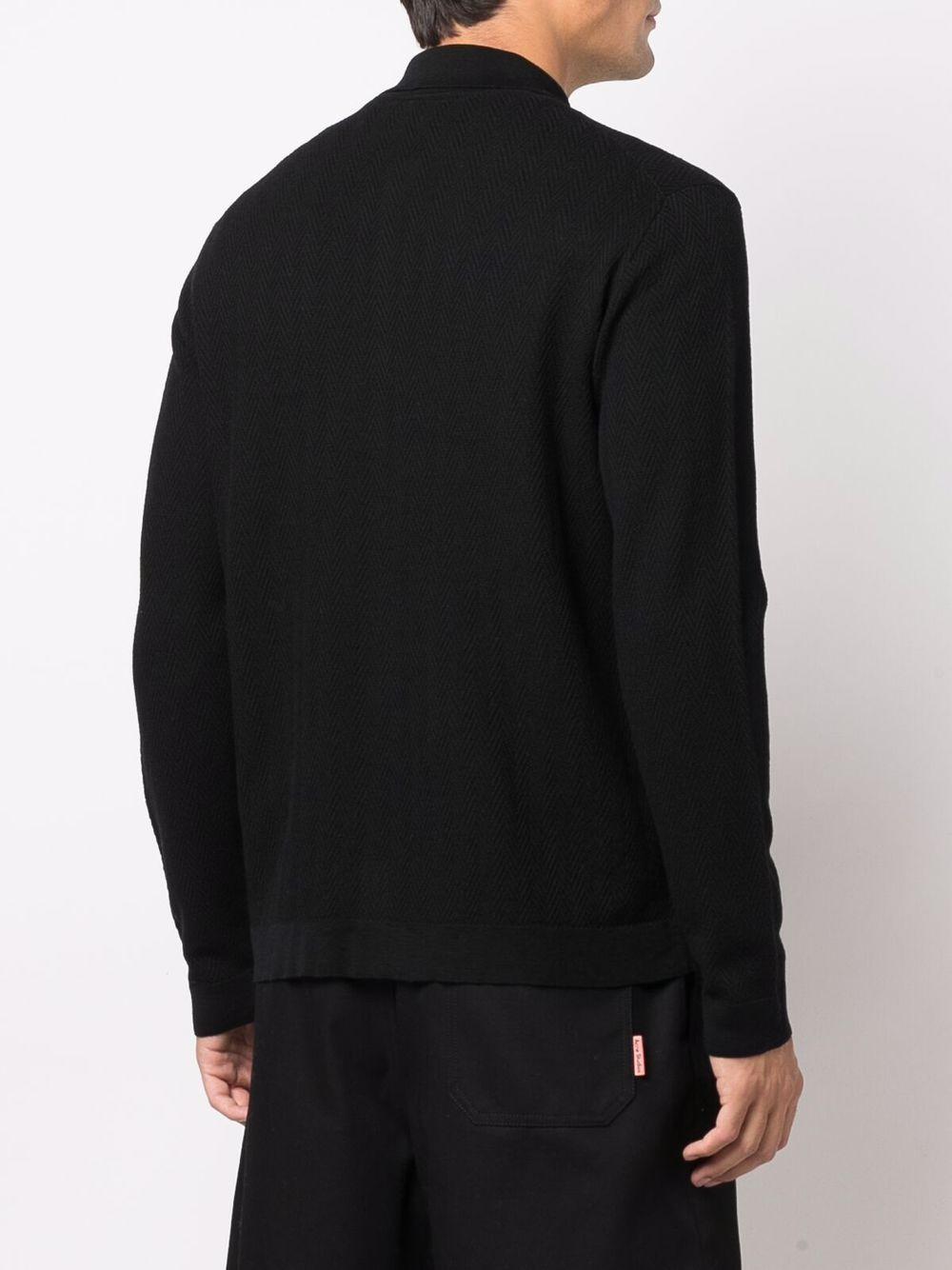 Cardigan nero in lana vergine con lavorazione a spina di pesce ALTEA   Cardigan   216111790