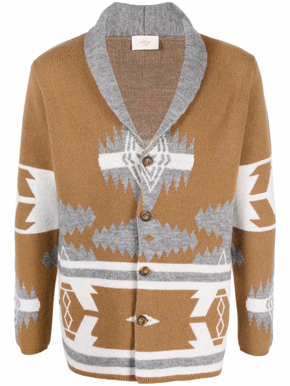 Cardigan in maglia a intarsio di lana vergine marrone e grigio ALTEA | Giacche | 216126434