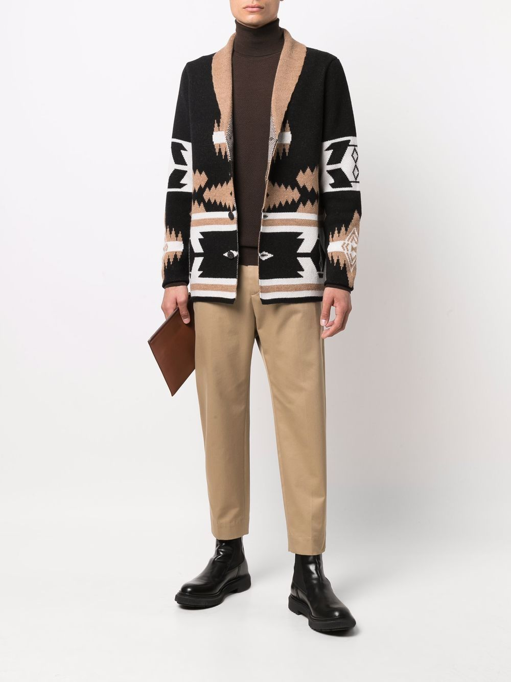 Cardigan nero bianco e marrone in lana con fantasia geometrica ALTEA   Giacche   216126490