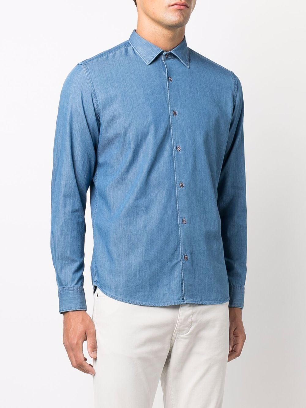 blue cotton button-up denim shirt  ALTEA |  | 216412312