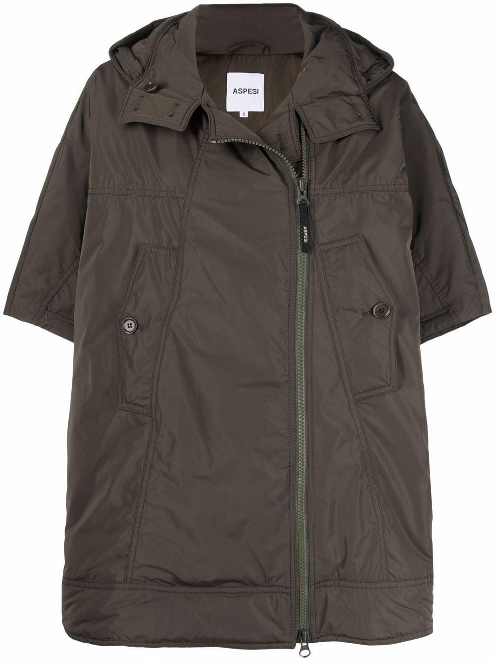 Military green zip-up hooded coat featuring ASPESI      1N08-G70301237