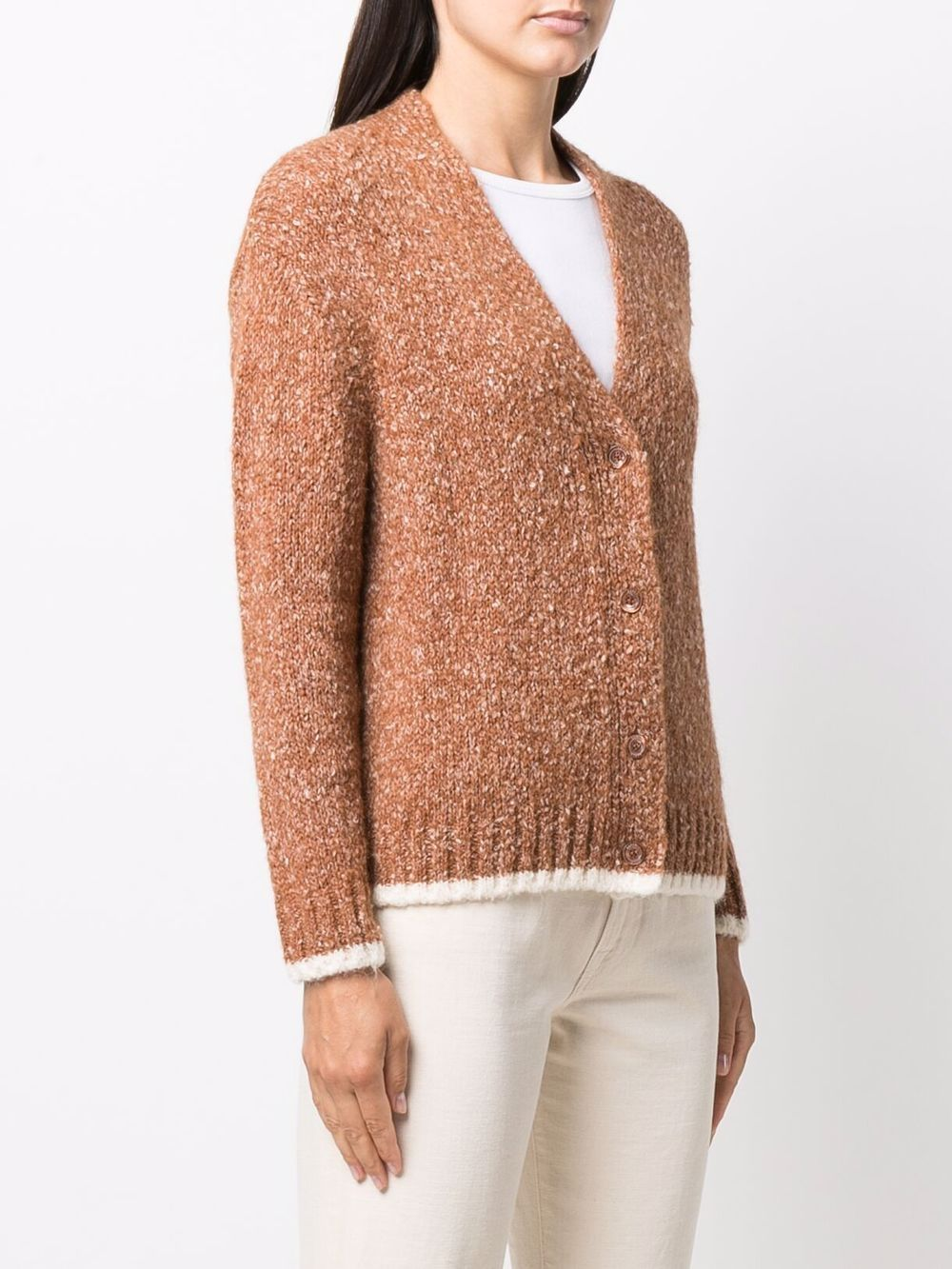Brown alpaca wool and cotton button-down knit cardigan  ASPESI |  | 5096-406501224