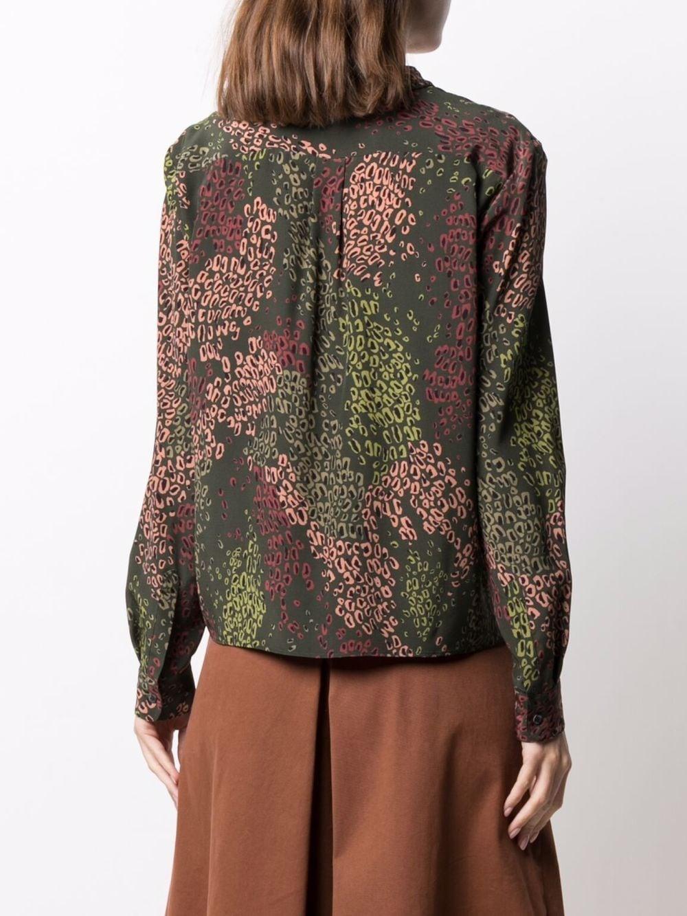 Camicia in seta verde con stampa leopardata all-over ASPESI   Camicie   5408-A32365245