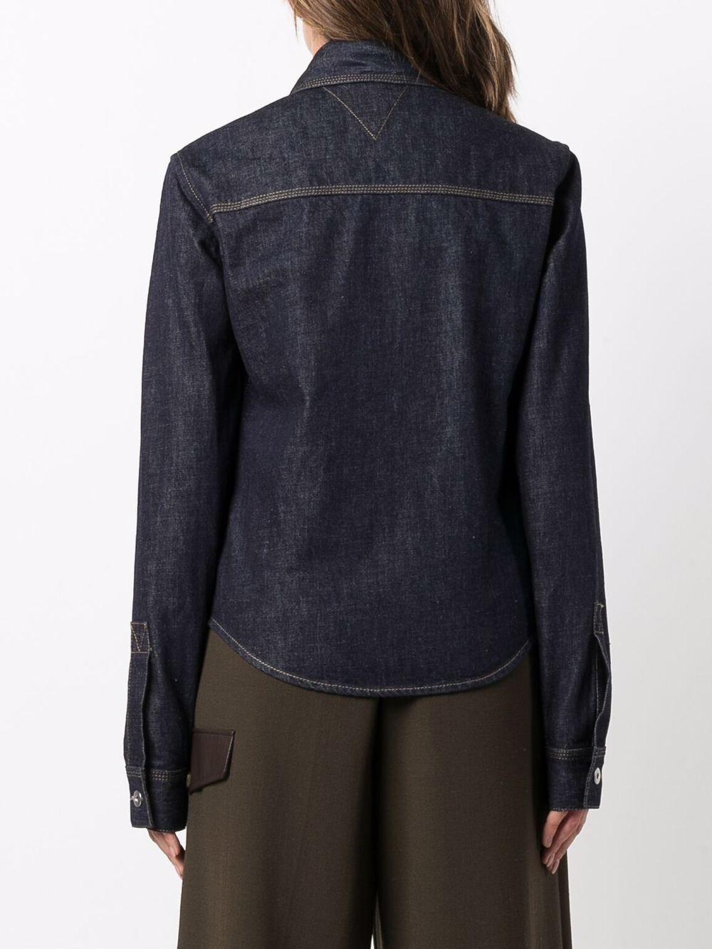 Camicia in denim indaco lavaggio scuro con cuciture a contrasto BOTTEGA VENETA | Camicie | 656019-V0W204245