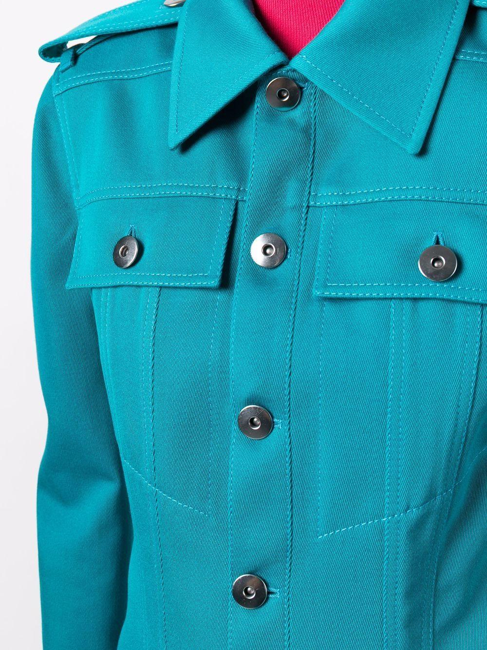 Giacca monopetto turchese in lana e cotone con spalline BOTTEGA VENETA | Giacche | 680333-V0B204467