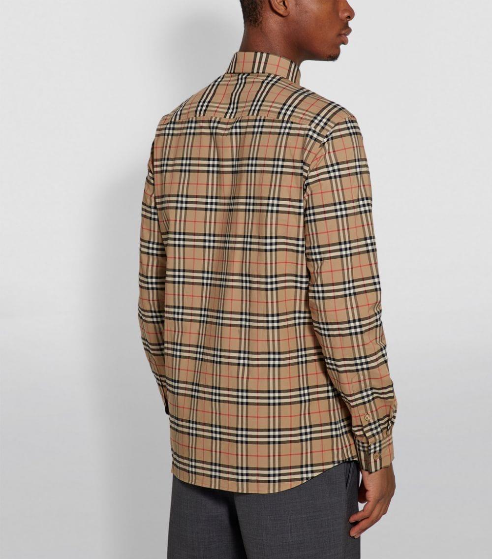 camicia beige in cotone in Burberry Vintage Check Small print BURBERRY | Camicie | 8020966-SIMPSONA7028