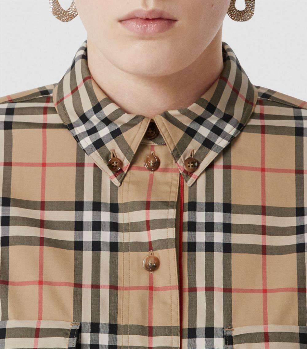 camicia in popeline di cotone beige in Burberry Check print all over BURBERRY | Camicie | 8022285-TURNSTONEA7028
