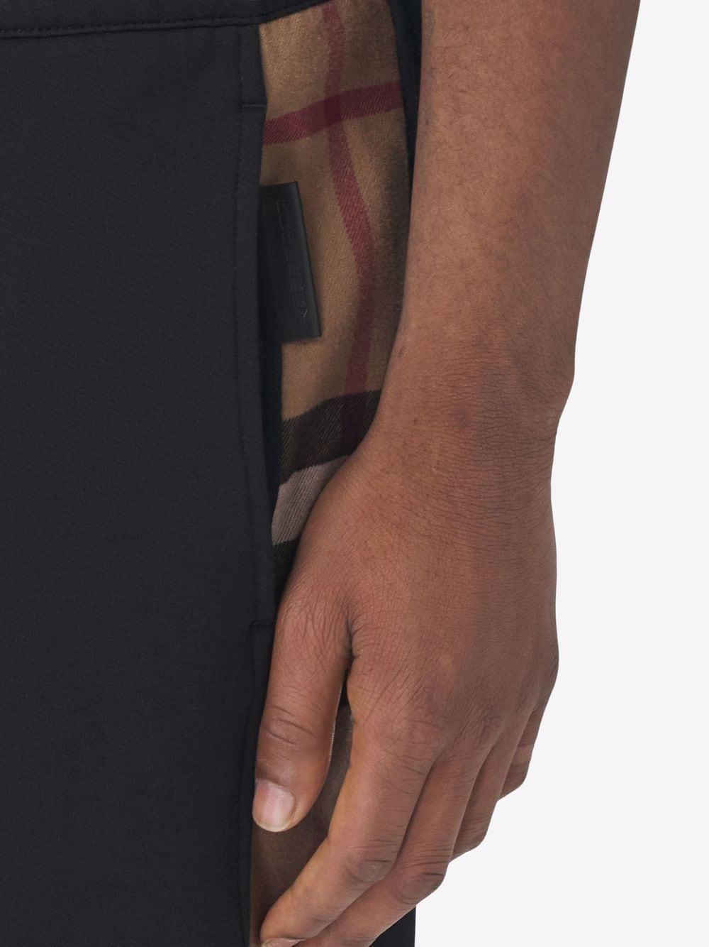 Pantaloni sportivi neri in cotone e pelle di vitello con motivo check BURBERRY   Pantaloni   8045013-STEPHANA1189