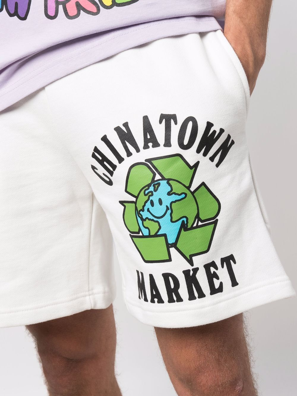 White cotton Recycle Global cotton shorts  CHINATOWN MARKET |  | 1950204-RECYCLE GLOBALCREAM