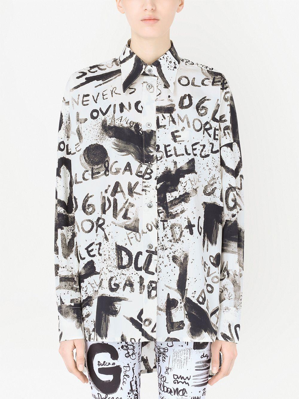 Camicia a maniche lunghe in cotone bianco e nero con stampa graffiti DOLCE & GABBANA | Camicie | F5N84T-HS5K4HASPN