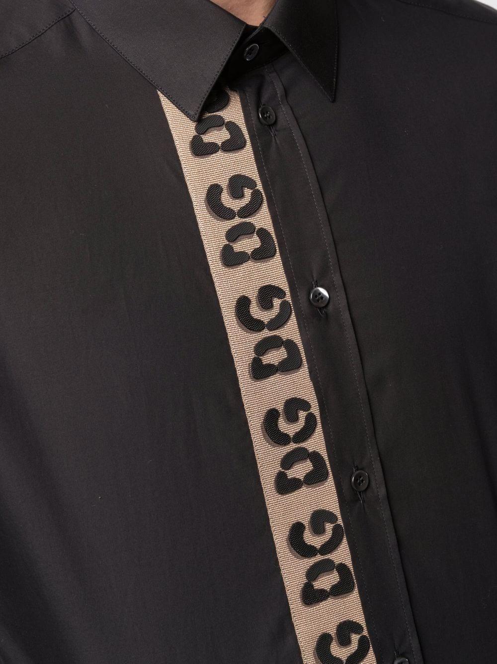 Camicia nera in cotone con logo DG ricamato verticale marrone DOLCE & GABBANA | Camicie | G5EJ1Z-GEU22N0000