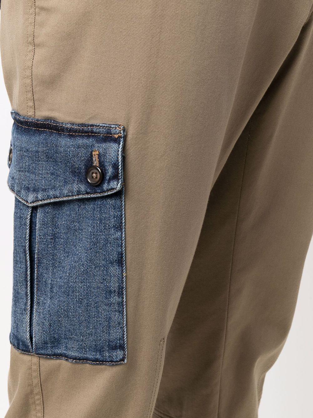 Chino verdi in cotone con tasche in denim DOLCE & GABBANA | Pantaloni | GWTUEZ-GEM25M0724