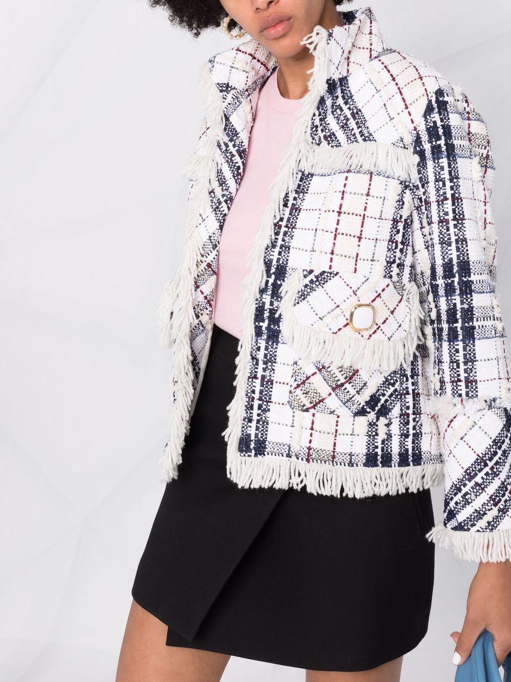 giacca in tweed di cotone a quadri bianco e grigio scuro con frange EDWARD ACHOUR PARIS   Giacche   010103-005BIANCO-NERO