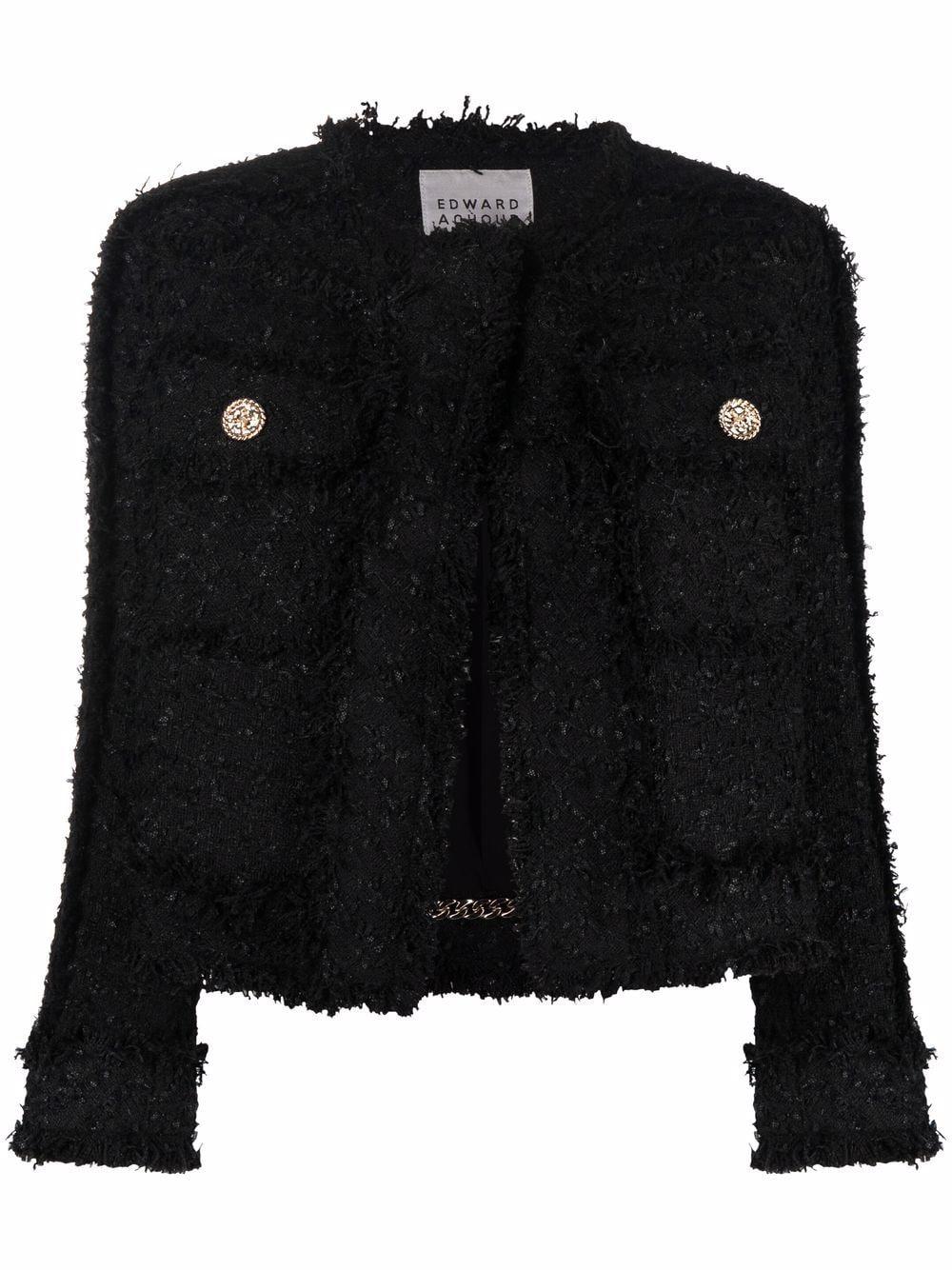 Black wool fringe trimmed tweed jacket  EDWARD ACHOUR PARIS      010109-32NERO