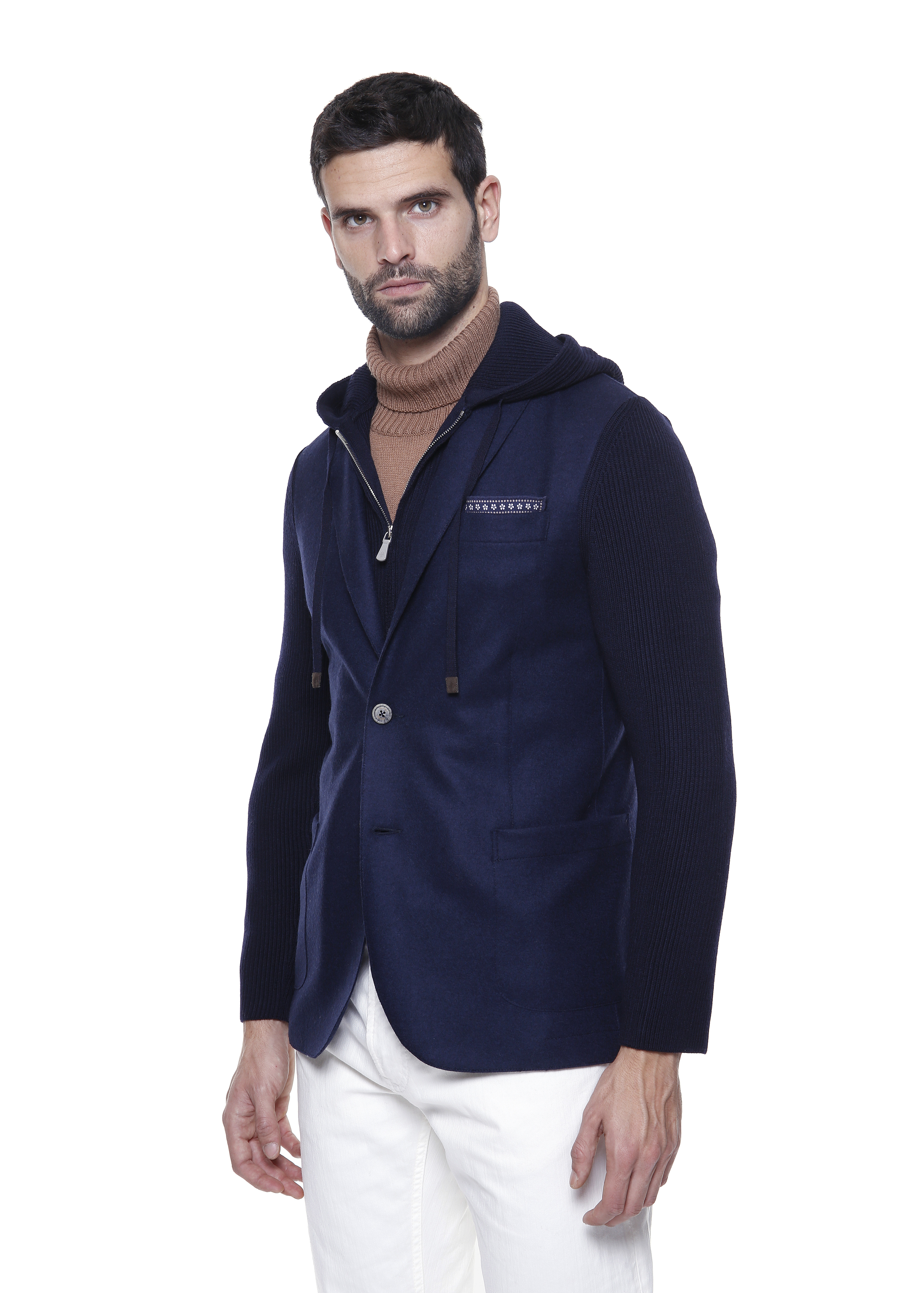 Navy blue wool layered single-breasted blazer with hood ELEVENTY |  | D70GIAD04-TES0D14011