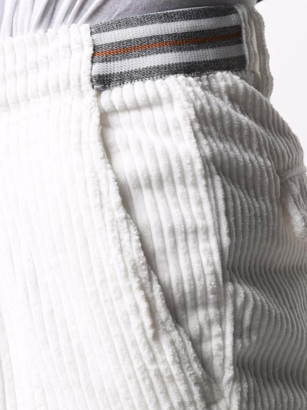 White stretch cotton corduroy drawstring trousers  ELEVENTY |  | D70PAND04-TET0D00701