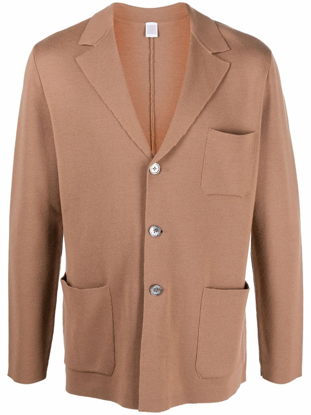 Camel brown virgin wool notched-lapels button-up cardigan ELEVENTY      D71GIAD02-MAG2401204A
