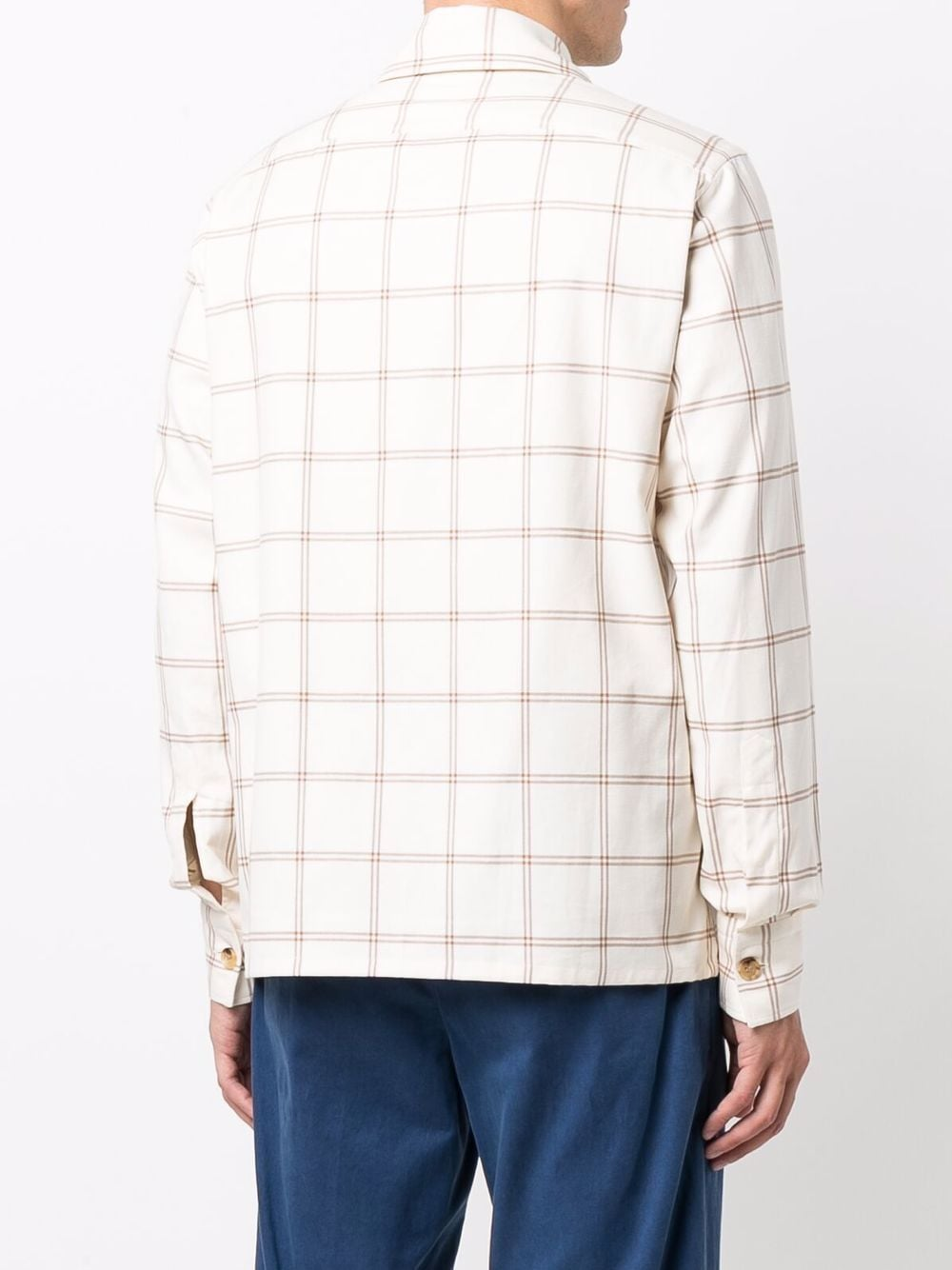 camicia in cotone biancoa quadri cammello ELEVENTY   Camicie   D75CAMD01-TES0D07904