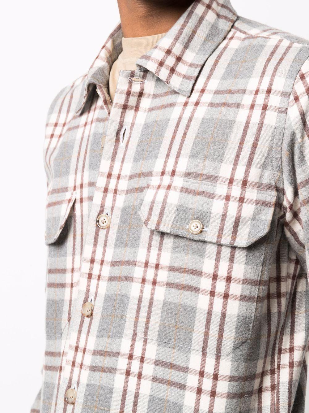 Camicia in cotone grigio chiaro con stampa check  ELEVENTY |  | D75CAMD01-TES0D09714