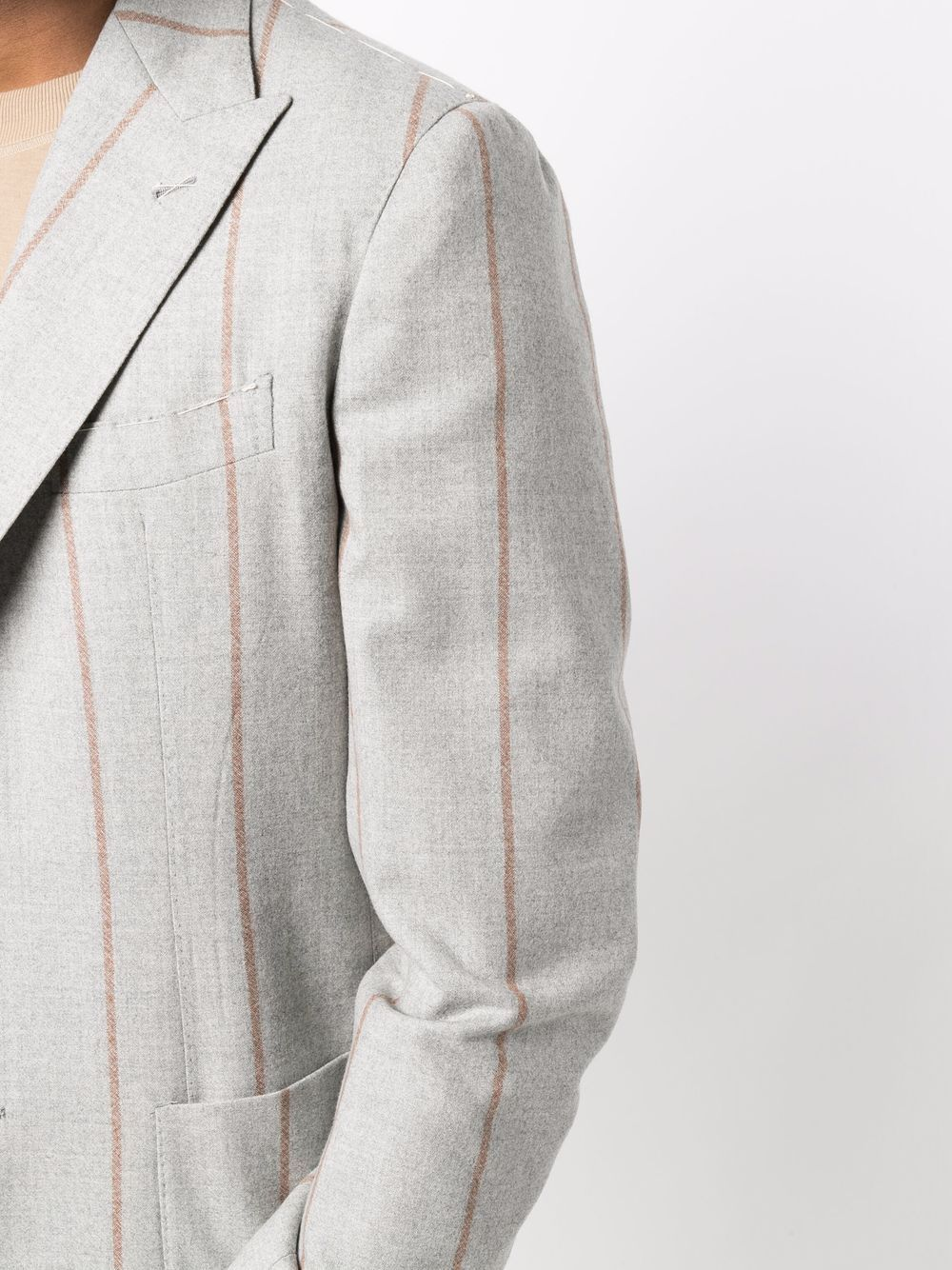Light-grey and beige wool single-breasted striped blazer ELEVENTY      D75GIAC12-TES0D00213