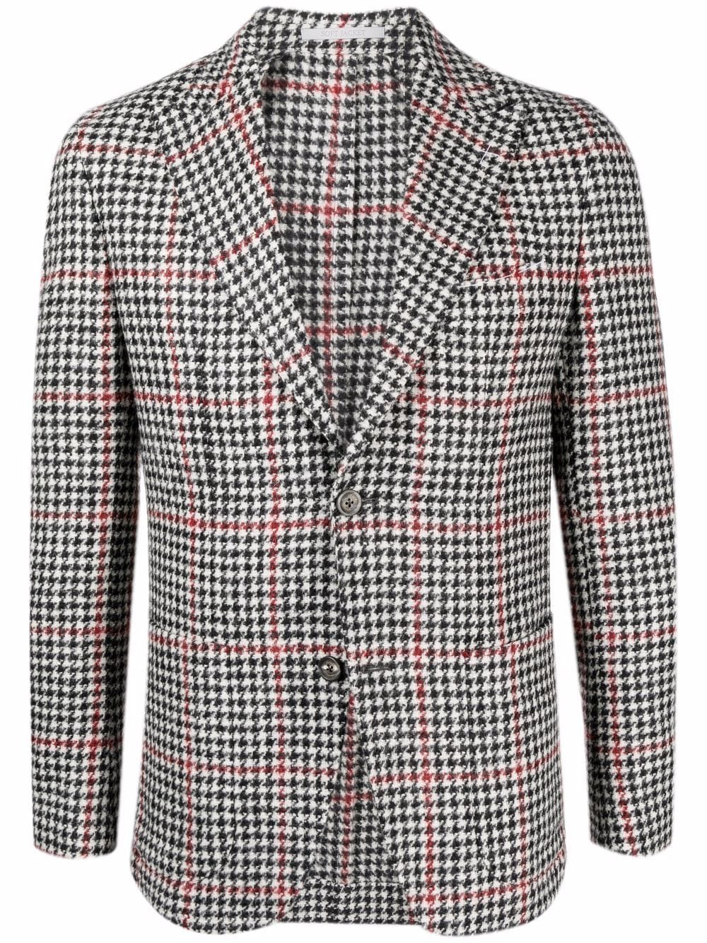 Blazer monopetto in lana pied de poule nero, bianco e rosso ELEVENTY | Giacche | D75GIAC12-TES0D06718