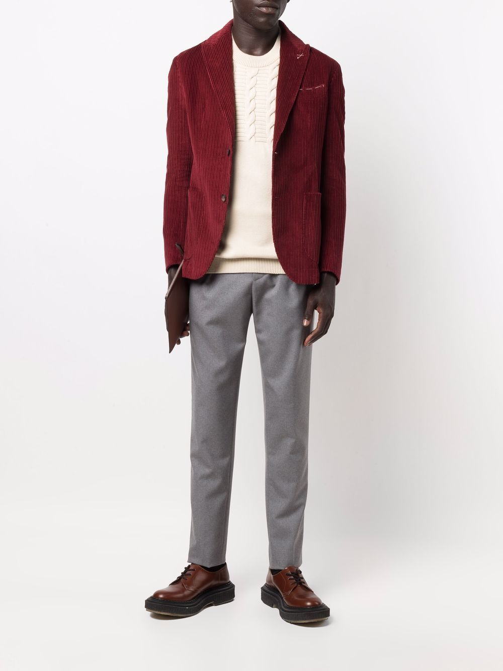 Dark red cotton and cashmere corduroy single-breasted blazer  ELEVENTY |  | D75GIAC12-TES0D07218