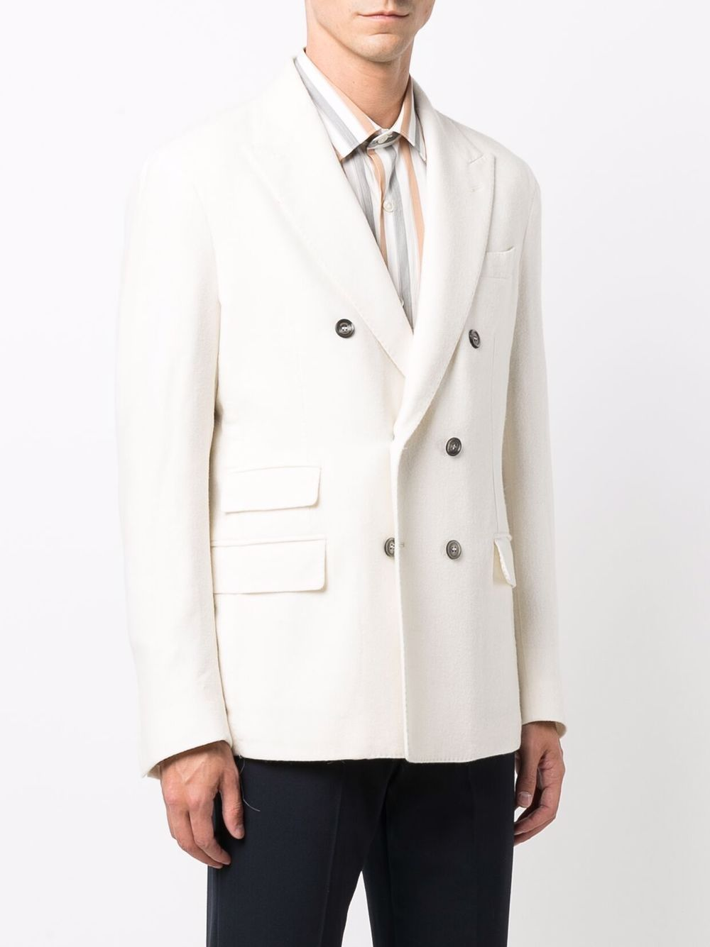 giacca sartoriale doppiopetto in alpaca e cashmere bianca ELEVENTY | Giacche | D75GIAC14-TES0D06801