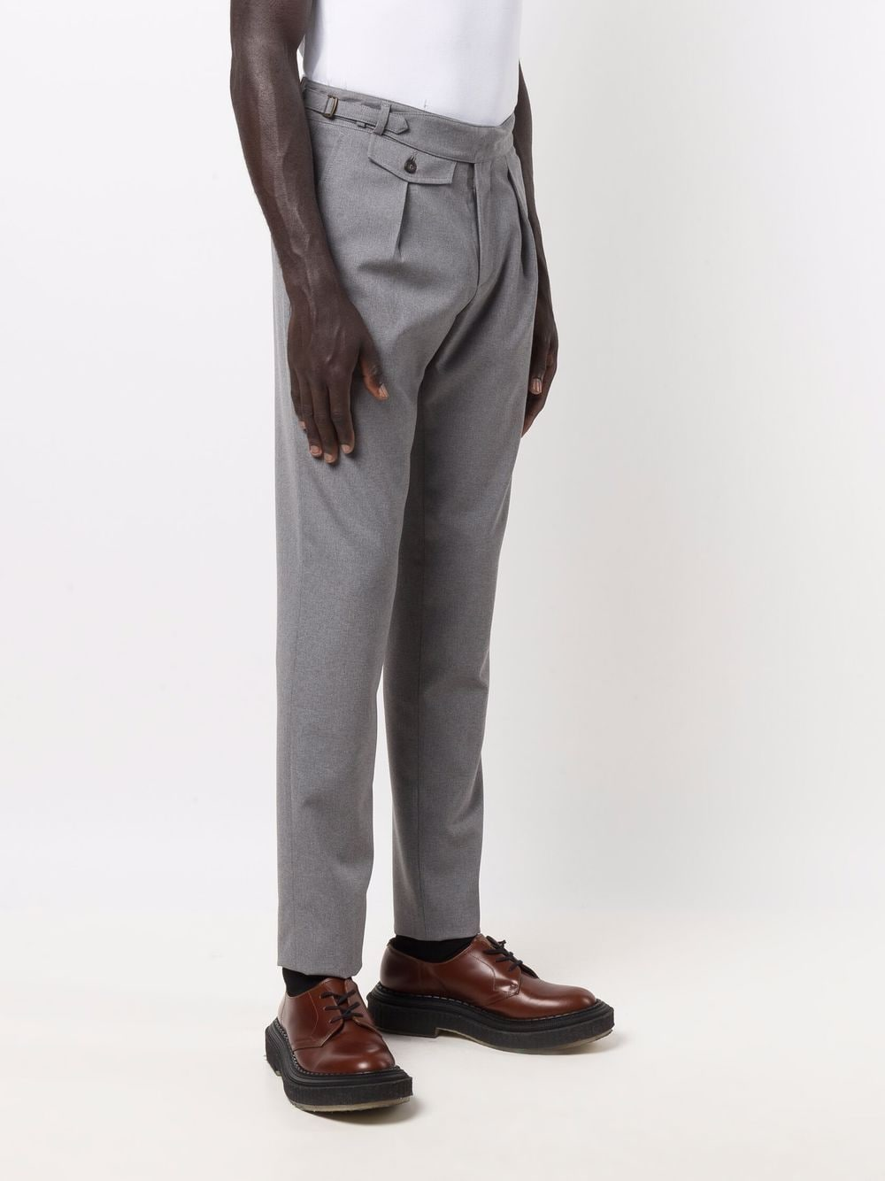 Melange grey wool high-waisted tapered trousers  ELEVENTY |  | D75PAND03-TES0D05613