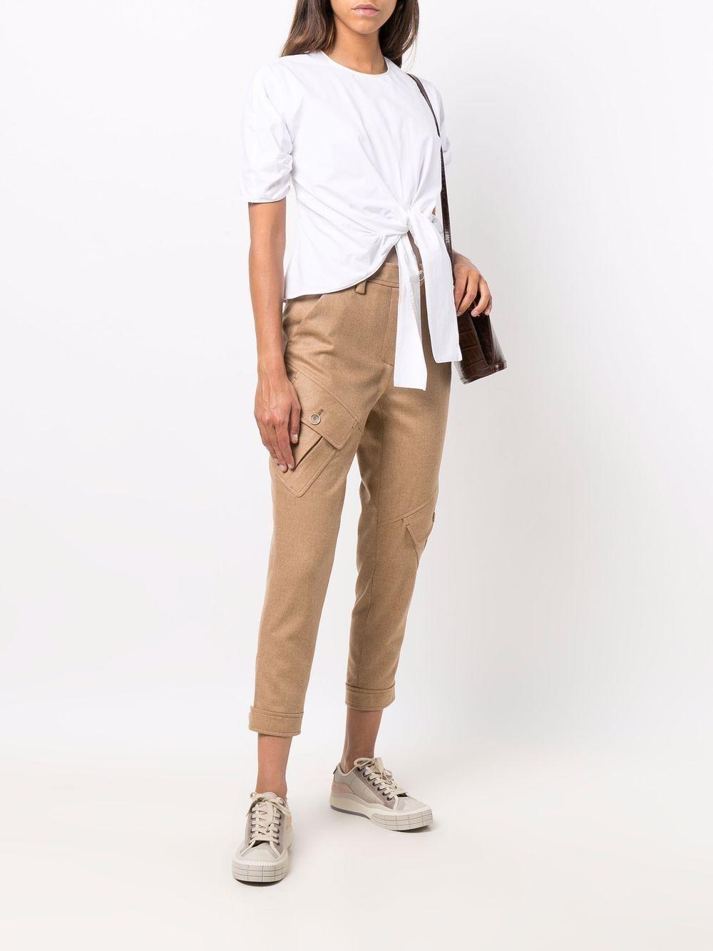Pantaloni cropped in lana cargo beige cammello e cashmere ELEVENTY | Pantaloni | D80PAND03-TES0B00504