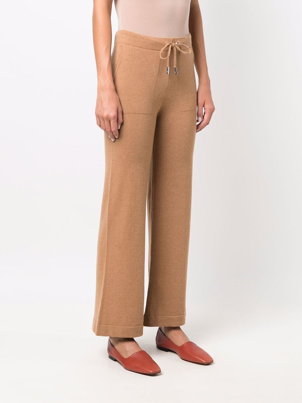 Camel cashmere knitted wide-leg trousers  ELEVENTY      D86PAND01-TCH0D00104