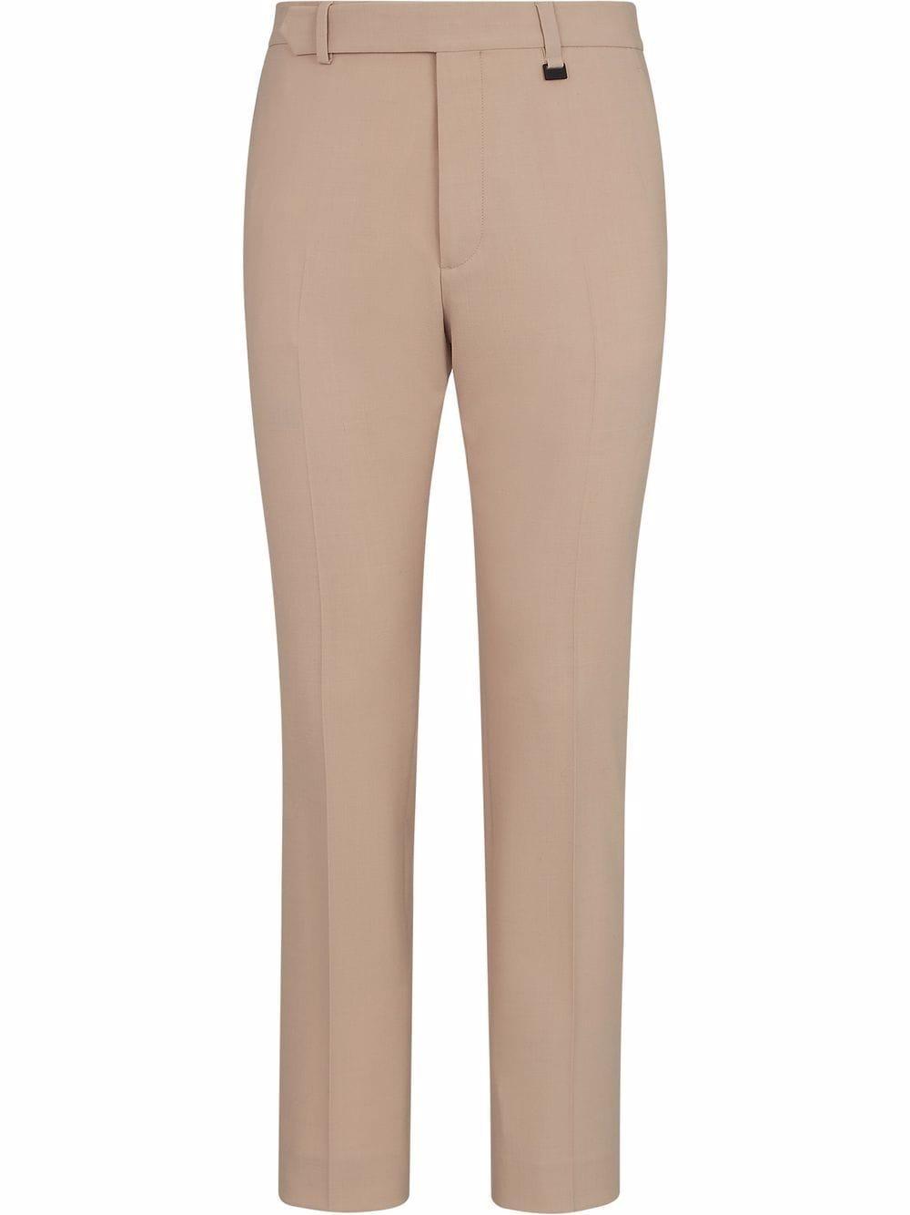 Beige wool slim-fit tailored trousers featuring gold-tone Fendi logo FENDI |  | FB0720-AGYEF0VG0
