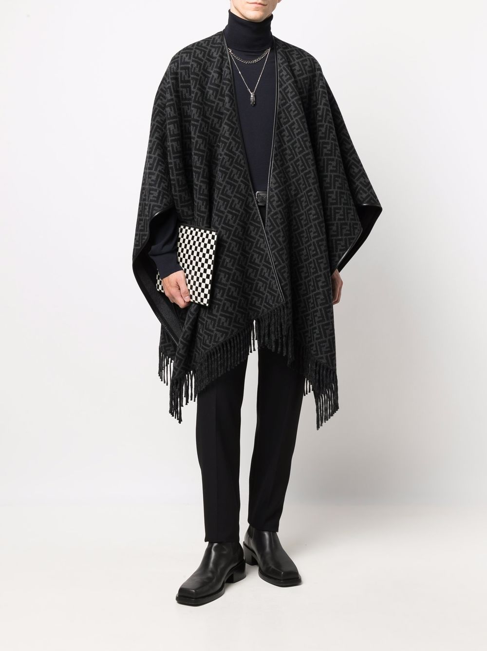 black wool and cachemere FF monogram print poncho  FENDI      FXX056-AH7SF1F63