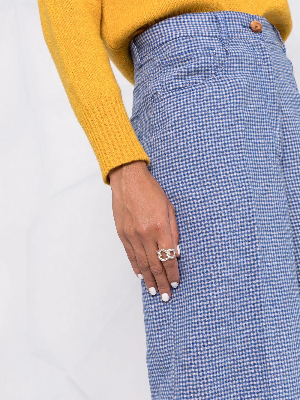 Pantaloni blu a quadri in lana vergine a gamba larga FORTE_FORTE | Pantaloni | 8638FIORDALISO