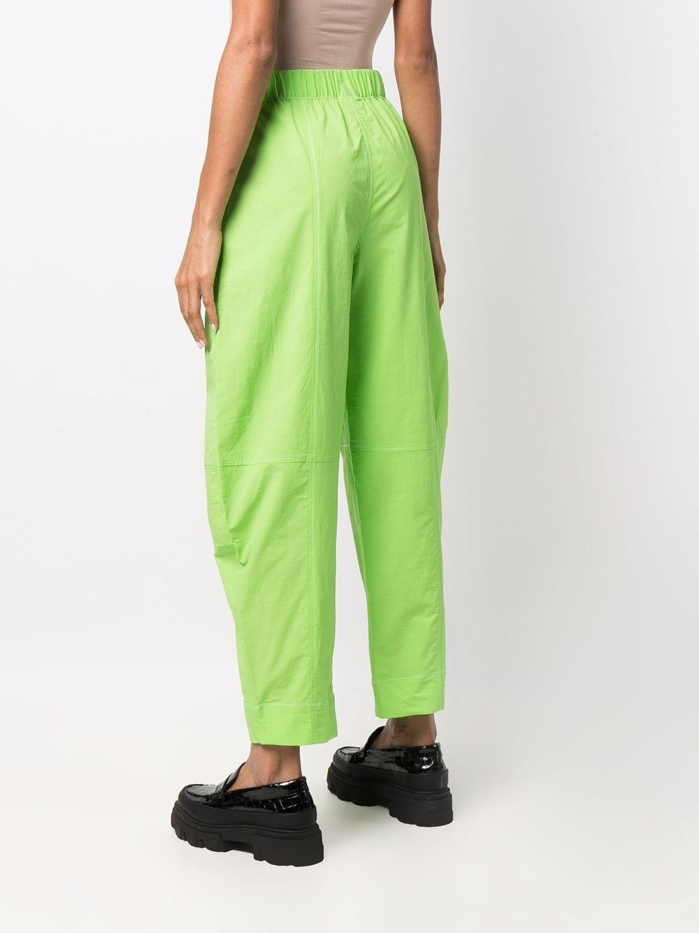 Flash green organic cotton wide leg trousers   GANNI      F6205783
