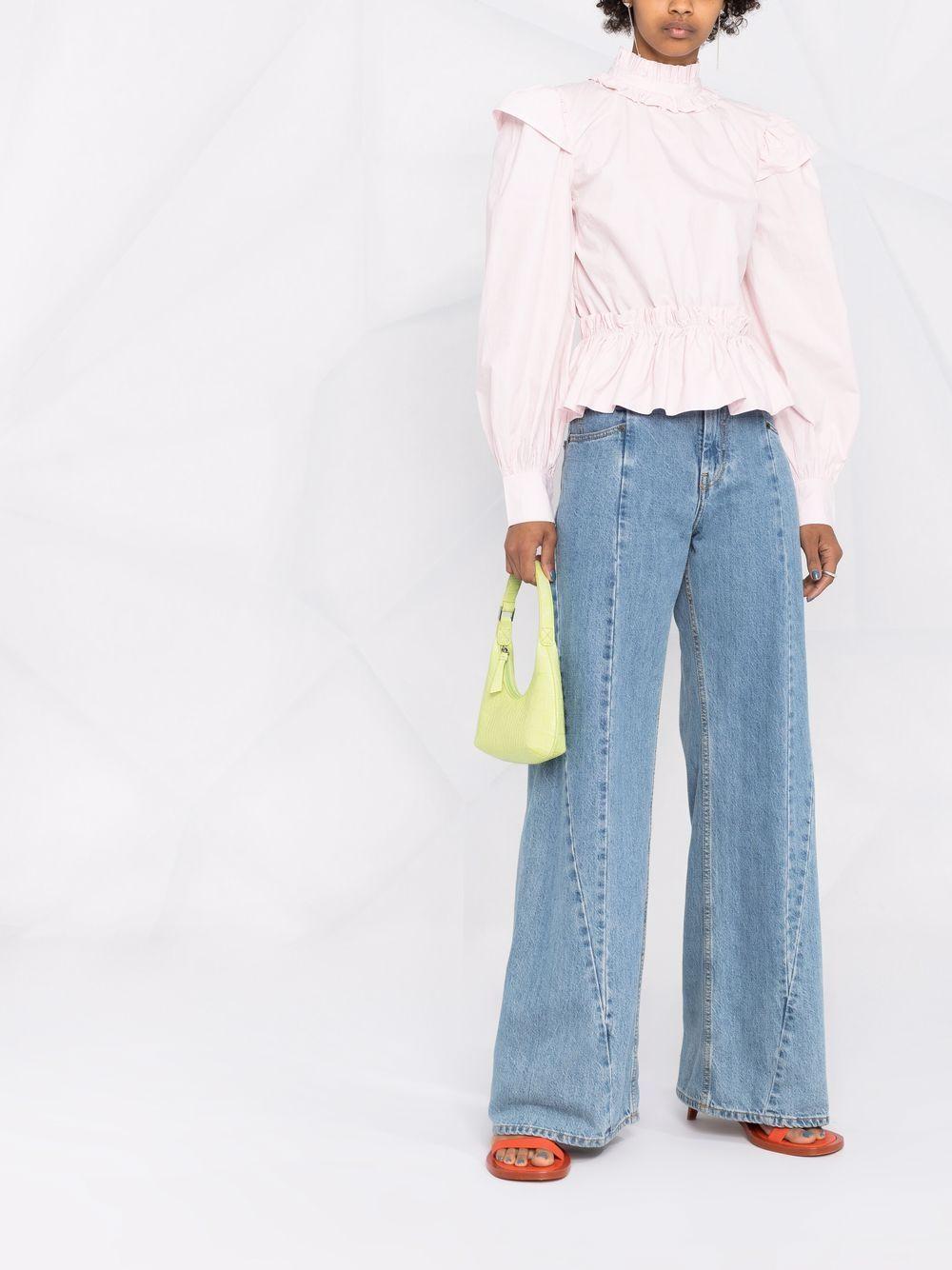 Blusa corta lilla chiaro in popeline di cotone biologico GANNI | Camicie | F6246500